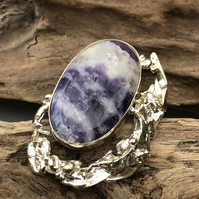 Amethyst quartz sterling silver brooch with melted silver decoration -00002603