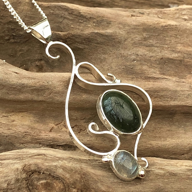 Sterling silver wave pendant with jade and labradorite -00001809