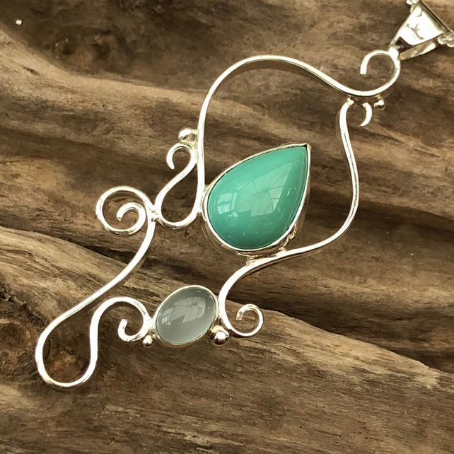 Sterling silver wave design pendant set with Turquoise and agate  -00001801