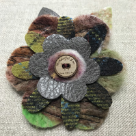 Flower brooch grey brown and green floral flower textile fabric brooch accessory