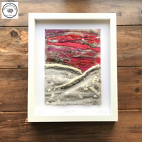 Red Sky snow scene, wet felt, needle felt, wool painting, embroidered
