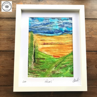 Poplars wet needle felt fibre art embroidery felt painting landscape