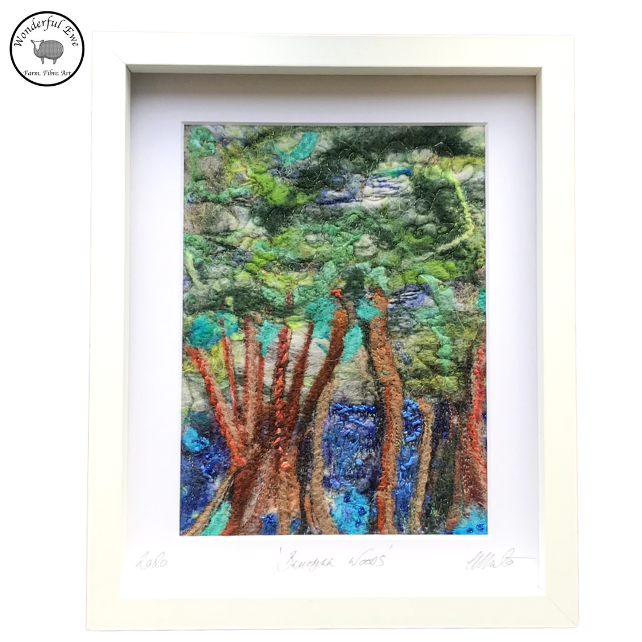 Bluebell Woods, wet felt, needle felt, fibre art, embroidery, felt painting,