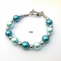 Silver plated haematite and pearlised glass bracelet with T bar Clasp