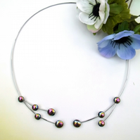 Haematite twister necklet and earring set