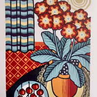 Auricula and Cherries - Limited edition handmade linocut print