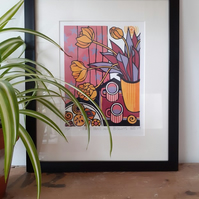 Pink Stars and Biscuits - Limited edition handmade linocut print.
