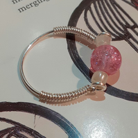 The Mackintosh Pink crackle and pearl Ring (Size S or L)