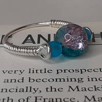 The Mackintosh Pink and Blue Crackle Bead Ring