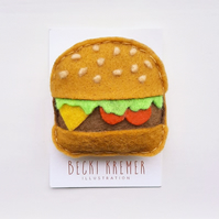 Felt Burger Brooch