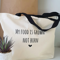 VEGAN Inspired quote Shopper Bag,Tote Bag Eco Friendly Canvas Bag