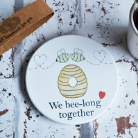Bee Couple Ceramic Tea Coffee Mug Coaster Gift for Partner