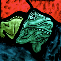 Glorious Gargoyles - Stained Glass, light catcher -  FROG 1