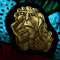 Glorious Gargoyles - Stained Glass window hanging - Man picking nose.