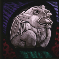 Glorious Gargoyles - Stained Glass window hanging - winged animal