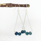Sterling Silver And Teal Apatite Dangle Earrings