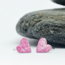 Silver and Enamel Heart Stud Earrings