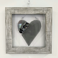 Stained glass, lampwork beads and fused glass framed heart