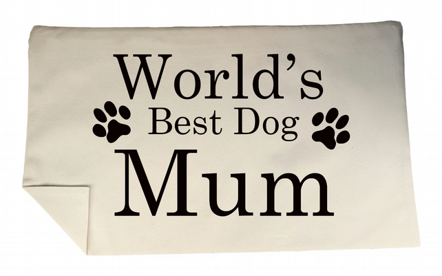 World's Best Dog Mum Rectangle Cushion Cover Flock Accent