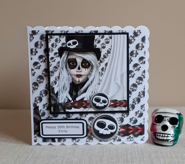 Personalised Day of the Dead Inspired Birthday Card.Hattie