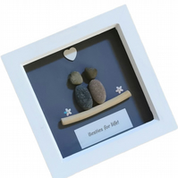"Besties for Life Pebble Art Picture, 7x7"" Deep Box Quote Frame Grey"