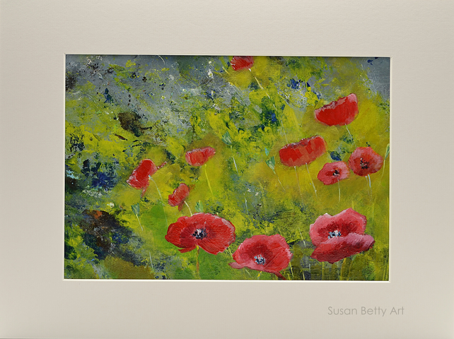 Mounted Painting of Red Poppies