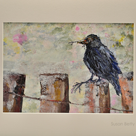 Mounted Painting of a Crow