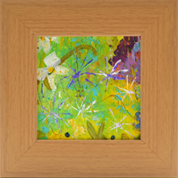 Small Framed Original Painting of Garden Flowers