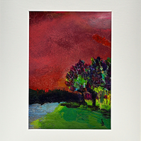 Original Painting of Trees by a Loch Under a Red Sky