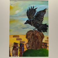 Original Painting of a Crow and a Person Looking for Peace