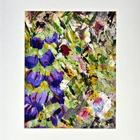 A Blank Handmade Card of Purple Flowers