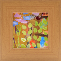 Small Framed Abstract Painting of Wild Flowers