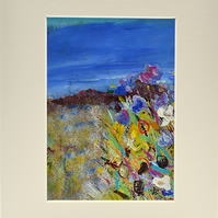 Original Painting of Wild Flowers Against a Blue Sky