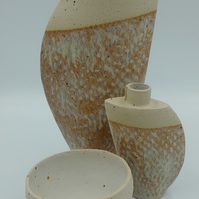 Set of two vases and small bowl