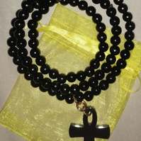 Haematite Crystal Ankh and Black Polished Wooden African Beads Necklace