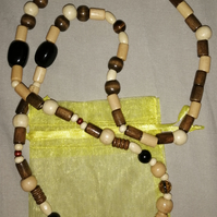 Wooden African Beads and Crystal Necklace