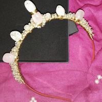Love Quartz Crystal and Beaded Wired Goddess Crown Tiara