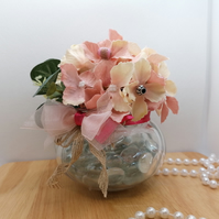 Light Pink Artificial Flower Arrangement in a small glass vase