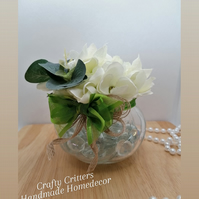 White Hydrangeas, Artificial Flower Arrangement in a small glass vase