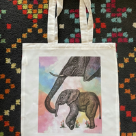 Elephant and Baby Original Art Tote