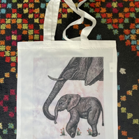 Elephant and Baby Original Art Tote Pink sky