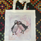 Original art Puffins Tote Bag