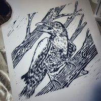 The Raven - an original woodcut print in black ink.