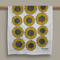 Sunflower Design Cotton Tea Towel