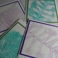 4 Hand printed cards - collection 9