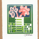 Flowers in vase lino print no 8