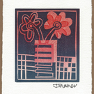 Flowers in vase lino print no 11