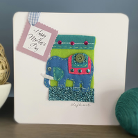 Mother's Day Card Felt Elephant On Lime Green Background With Pink Pearl Tag Mum