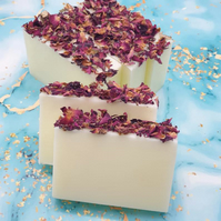 Handmade Soap Bar Decorated With Rose Petals