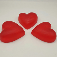 Set of 3 - Raspberry Hearts Handmade Soap Gift Set - Valentines Day